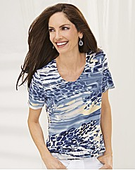 Gelco Print and Stud V Neck Top