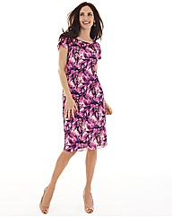Gina Bacconi Print Mesh Tiered Dress