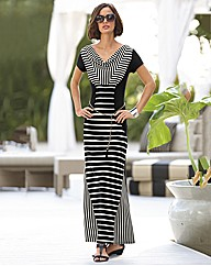 Frank Lyman Stripe Maxi Panel Dress