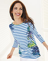 Passport Stripe and Tropical Print Top