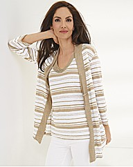 Gelco Linen Slub Knit Stripe Vest Top