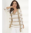 Gelco Linen Slub Knit Stripe Cardigan