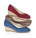 Van Dal Suede Peep Toe Wedge