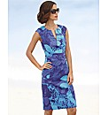 Adrianna Papell Sateen Leaf Print Dress