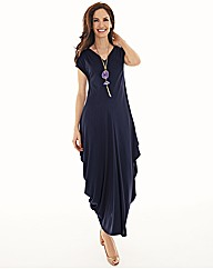 Chesca Plain Jersey Dress With V-Neck