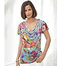 Pomodoro Sleeveless Cowl Neck Print Top