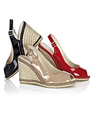 Capollini Open Toe Patent Wedge