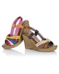 Lotus Multi Colour Sling Back Wedges