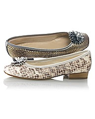 Riva Snake Skin Print Flower Trim Pumps