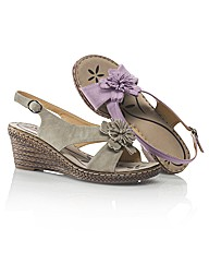 Riva Flower Sling Back Wedge Sandal