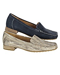 Gabor Metallic Stitch Detail Loafers