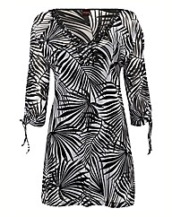 Olsen Tropical Print & Beaded Kaftan