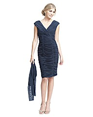 Gina Bacconi Ruched Mesh Dress