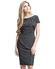 Gina Bacconi Spot Crepe Shift Dress