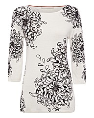 Passport Flower-print Fine-knit Jumper