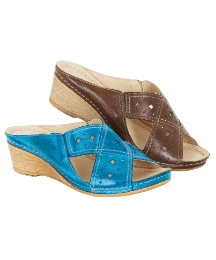 Riva Cross-over Wedge Mules