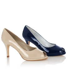 HB Shoes Patent Peep Toe Court Shoes