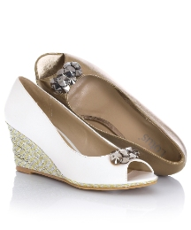 Lotus Peep-Toe Wedges With Jewel Trim