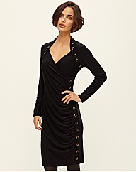 Frank Lyman Rivet Mock Wrap Dress