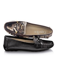 Capollini Patent Trim Leather Moccasins