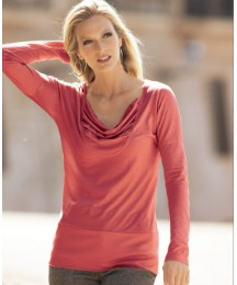 Part Two Pleated Cowl Neck Jersey Top