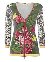 Gelco Exotic-print Knitted Zip Jacket