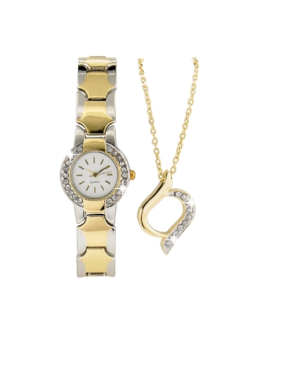 Dummy Two Tone Watch and Pendant Set