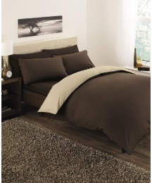 Plain Dyed Reversible Duvet Cover Set