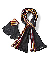 W&B Stripe Knit Scarf and Glove Set