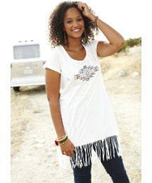 Angel Ribbons Jersey Fringe Hem Top