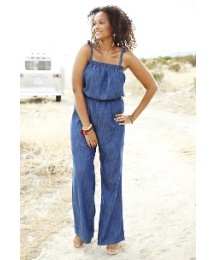 Angel Ribbons Soft Denim Jumpsuit
