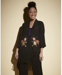 Anna Scholz Floral Fringed Shrug Jacket