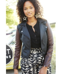 Angel Ribbons Contrast Biker Jacket