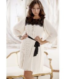 Frock & Frill Pleat Lace Trim Dress