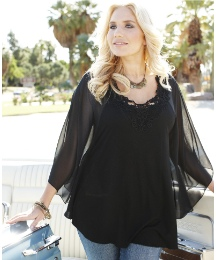 Changes Boutique Cape Sleeve Top