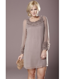 Rise Ruffle Neck Sheer Sleeve Dress