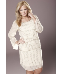 Rise Aysmmetric Beaded Front Dress