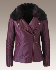 Biker Jacket with Detachable Fur