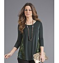 Top to Toe Devore Panelled Jersey Top