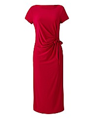 Side Tie Jersey Dress With Short Sleeves