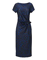 Print Side Tie Jersey Dress