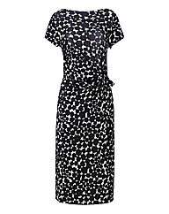 Print Side Tie Jersey Dress