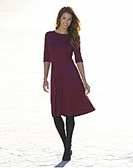 Petite Fit and Flare PU Trim Ponte Dress