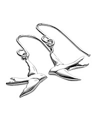 Sterling Silver Swallow Drop Earrings
