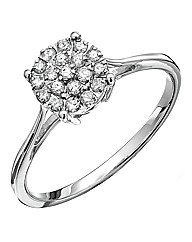 9 Ct White Gold 1/4 Carat Diamond Ring