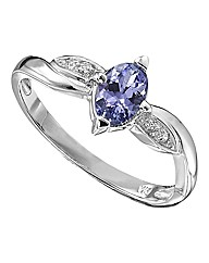 9 Carat Tanzanite & Diamond Oval Ring