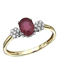 9 Carat Gold Gemstone & Diamond Ring