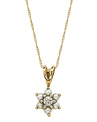 9 Carat Gold Pearl & Diamond Pendant