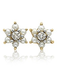 9 Carat Gold Pearl & Diamond Earrings
