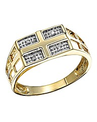 9 Carat Gold Diamond Set Cross Ring
